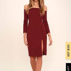NWT! Wine-red off the shoulder backless dress!